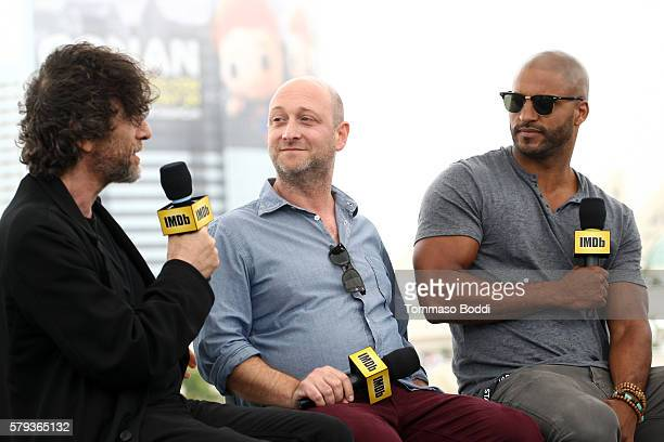 Writers Neil Gaiman Michael Green and actor Ricky Whittle of American Gods attend the IMDb Yacht at San Diego ComicCon 2016 Day Three at The IMDb...