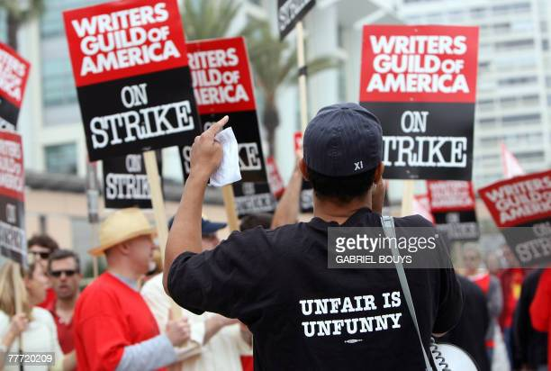 Writers participates at a demonstration in front of the Fox studio in Los Angeles California 05 November 2007 Hollywood writers went on strike after...