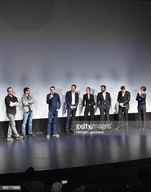 Writers Paul Wernick and Rhett Reese Director Daniel Espinosa actors Ryan Reynolds Rebecca Ferguson and Jake Gyllenhaal and producers David Ellison...