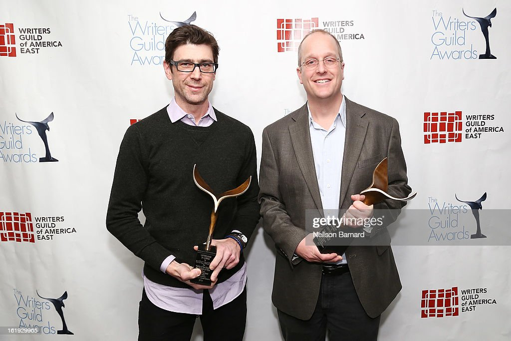 Writers Randall MacLowry (L) and Joseph McMaster pose backstage at the 65th annual Writers Guild East Coast Awards at B.B. King Blues Club & Grill on February 17, 2013 in New York City.