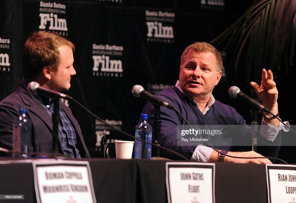 Writers Rian Johnson and David Magee attend the 28th Santa Barbara International Film Festival Writers Panel at the Lobero theatre on January 26, 2013 in Santa Barbara, California.