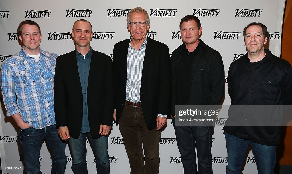 Writers Robert Doherty, Joel Fields, <a gi-track='captionPersonalityLinkClicked' href=/galleries/search?phrase=Carlton+Cuse&family=editorial&specificpeople=854249 ng-click='$event.stopPropagation()'>Carlton Cuse</a>, <a gi-track='captionPersonalityLinkClicked' href=/galleries/search?phrase=Kevin+Williamson&family=editorial&specificpeople=631337 ng-click='$event.stopPropagation()'>Kevin Williamson</a>, and Aaron Korsh attend Variety's A Night In The Writers' Room at Writers Guild Theater on June 11, 2013 in Beverly Hills, California.