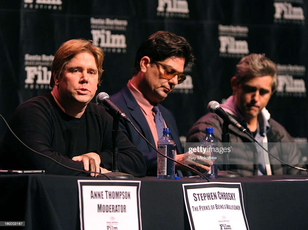 Writers Stephen Chbosky, <a gi-track='captionPersonalityLinkClicked' href=/galleries/search?phrase=Roman+Coppola&family=editorial&specificpeople=615097 ng-click='$event.stopPropagation()'>Roman Coppola</a> and <a gi-track='captionPersonalityLinkClicked' href=/galleries/search?phrase=John+Gatins&family=editorial&specificpeople=2203490 ng-click='$event.stopPropagation()'>John Gatins</a> attend the 28th Santa Barbara International Film Festival Writers Panel at the Lobero theatre on January 26, 2013 in Santa Barbara, California.