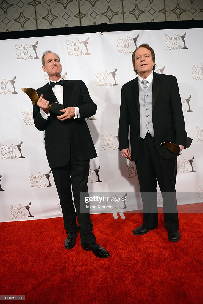 Writers Ted Mann and Ronald Parker, winners of the Writers Guild Award for Long Form - Original TV, pose in the press room during the 2013 WGAw Writers Guild Awards at JW Marriott Los Angeles at L.A. LIVE on February 17, 2013 in Los Angeles, California.
