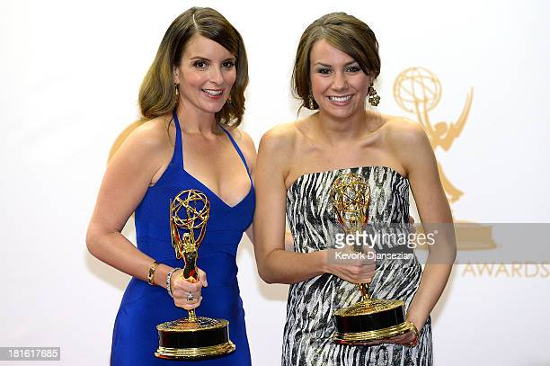 Writers Tina Fey and Tracey Wigfield winners of Best Writing for a Comedy Series Award for '30 Rock' pose in the press room during the 65th Annual...