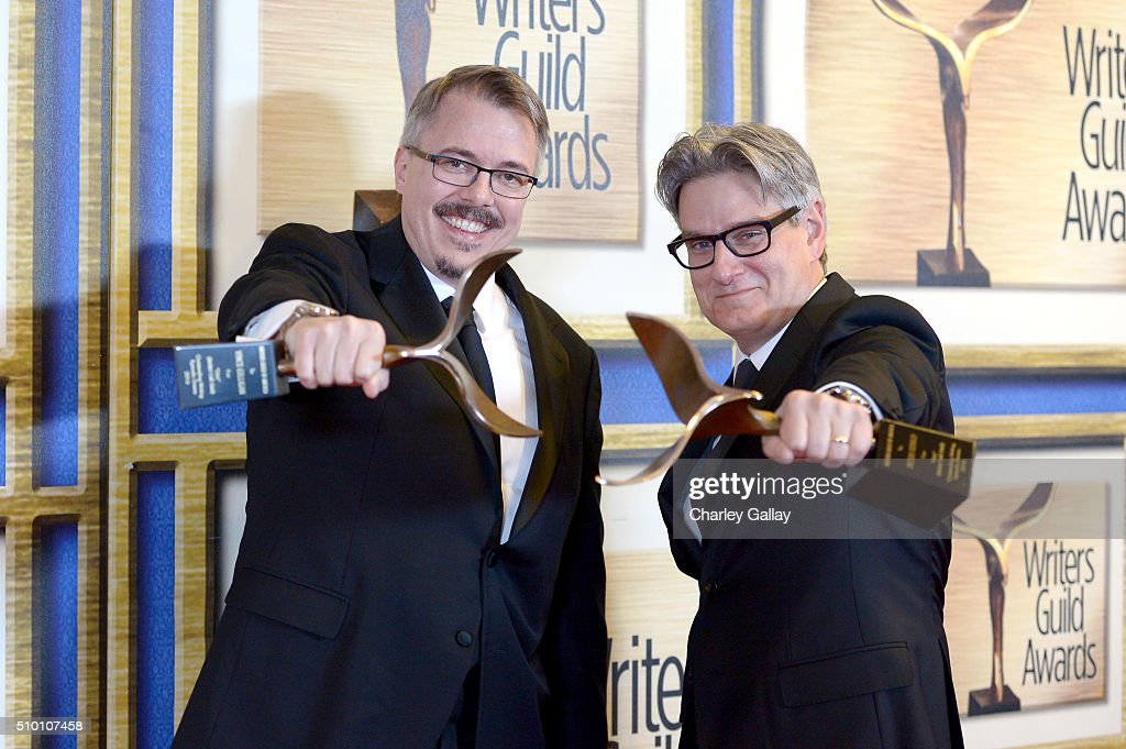 Writers Vince Gilligan and Peter Gould winners of the Episodic Drama award for 'Better Call Saul' pose in the Press Room during the 2016 Writers...