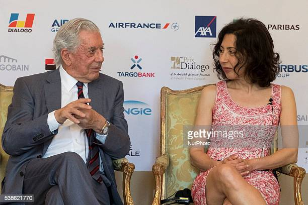 Writers Yasmina Reza and Mario Vargas Llosa attend 'Prix del Dialogo' award 2016 press conference on June 7 2016 in Madrid Spain