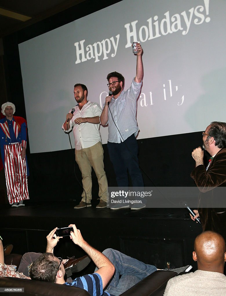 Writers/directors Evan Goldberg (Center L) and Seth Rogen (Center R) introduce the screening of Sony Pictures' 'The Interview' at Cinefamily on December 25, 2014 in Los Angeles, California.
