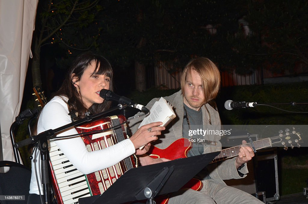 Writer/singer Marie Modiano and musician Peter Von Poehl perform during the Veillee Foodstock Party 2nd Night At MAC/VAL on May 4, 2012 in Vitry sur Seine, France.