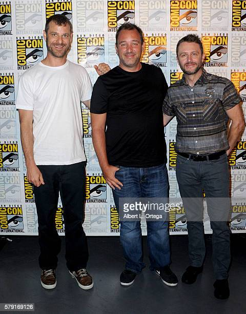 Writers/producers Trey Parker and Matt Stone and moderator Chris Hardwick attend Comedy Central 'South Park 20' during ComicCon International 2016 at...