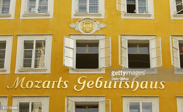 Writing announces the birth house of Austrian composer Wolfgang Amadeus Mozart before opening night of the 2004 Salzburg Music Festival on July 23...