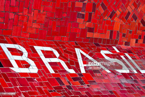 A writing 'Brasil' seen on Selaron's Stairs a colorful mosaic tile stairway on February 12 2012 in Rio de Janeiro Brazil World famous staircase...