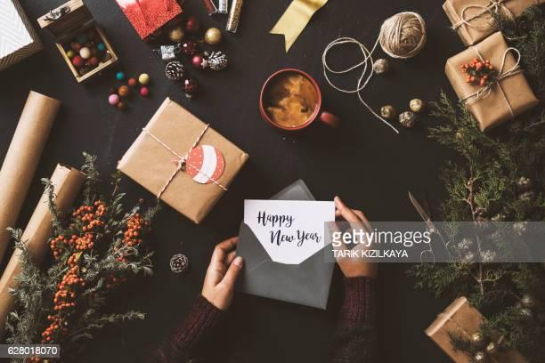 Writing Christmas cards, New Year 2017 table top flat lay
