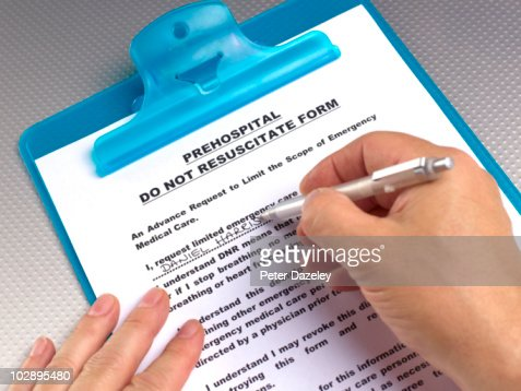Writing Do Not Resuscitate Form Stock Photo | Getty Images