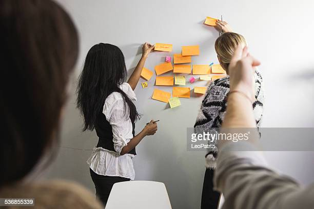 Writing ideas on the wall during a business meeting