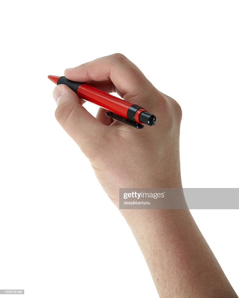Writing male hand with red pen on white
