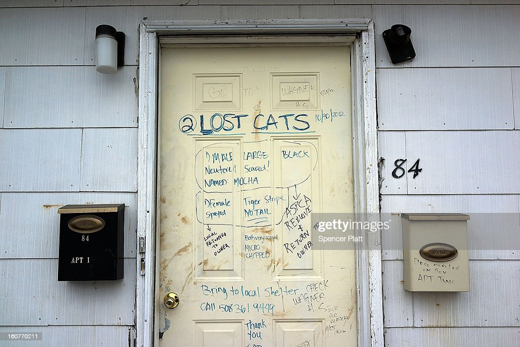 Writing on a door of a flood damaged home notifies of missing cats in Oakwood Beach in Staten Island on February 5, 2013 in New York City. In a program proposed by New York Governor Andrew Cuomo, New York state could spend up to $400 million to buy out home owners whose properties were destroyed by Superstorm Sandy. The $50.5 billion disaster relief package, which was passed by Congress last month, would be used to fund the program. If the program is adopted, homeowners would be relocated and their land would be left as a natural barrier to help absorb future floods waters.