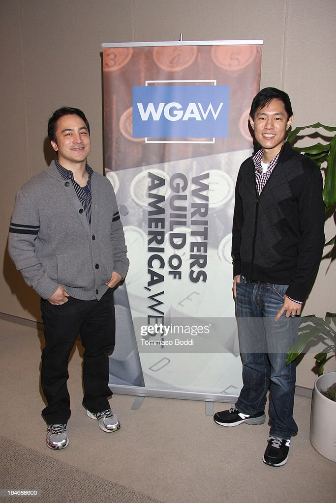 TV writing team Eric S. Garcia (L) and Leo Chu attend the WGAW's 2013 TV Staffing Brief Press Conference held at Writers Guild of America, West on March 26, 2013 in Los Angeles, California.
