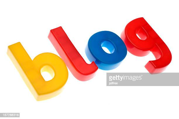 BLOG written in plastic letter on white background