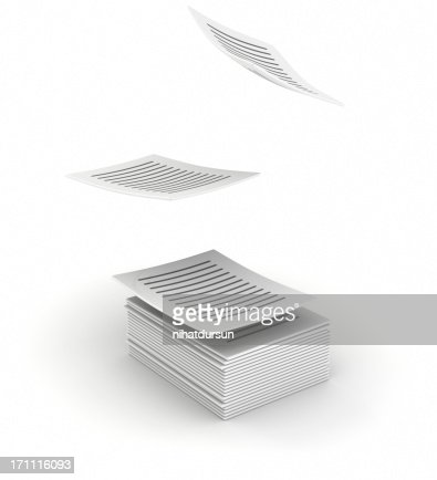Written printed pages flying up