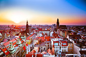 Panoramic view of Wroclaw Old Town, Popular travel destination squares. Landmarks historical medieval buildings and churches.
