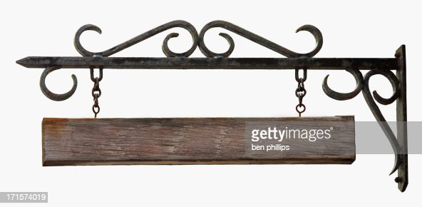 Wrought iron & wooden sign