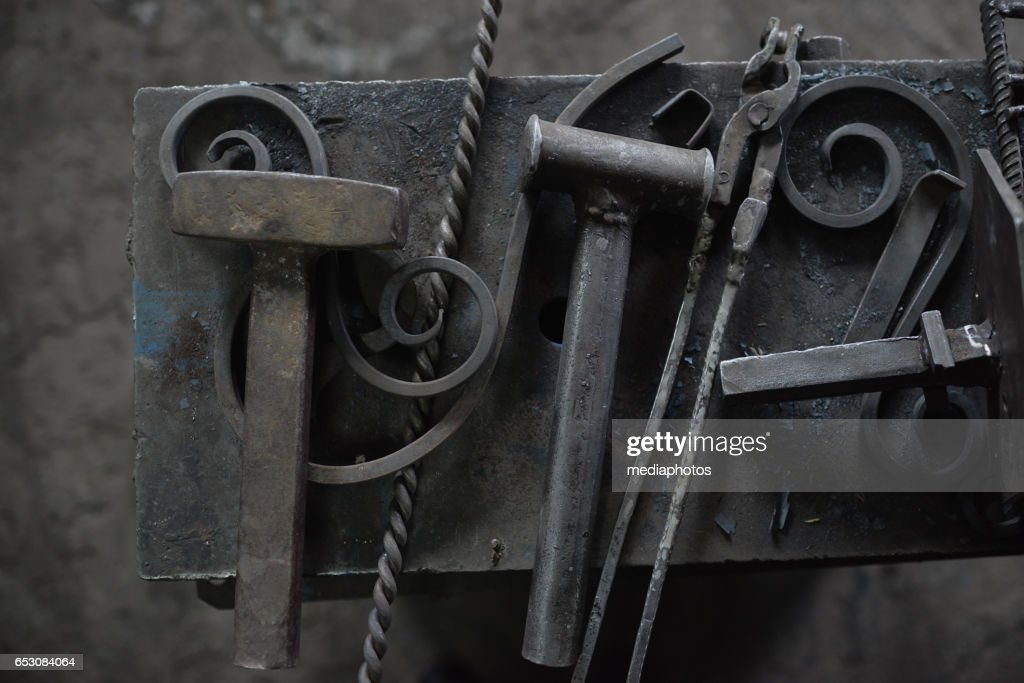Wrought iron and tools : Foto stock