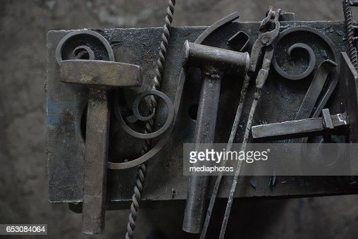 Wrought iron and tools : Stock Photo