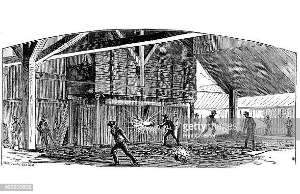 Carrying balls of iron from furnace to the squeezer Phoenix Iron and Bridge Works Phoenixville Pennsylvania From The Science Record New York 1873