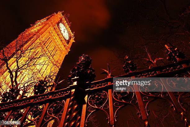 Wrought Iron Fence and Big Ben at Night