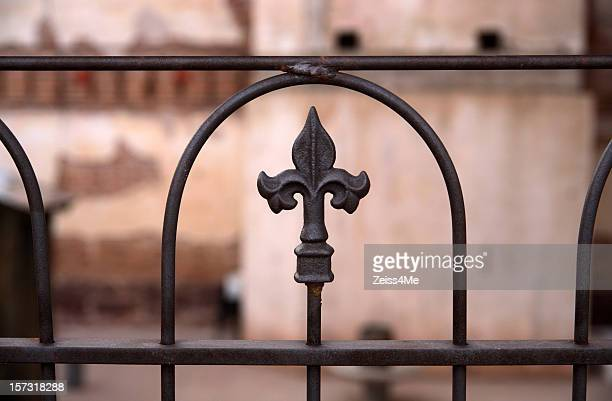 Wrought iron fence with Fleur de Lis motif