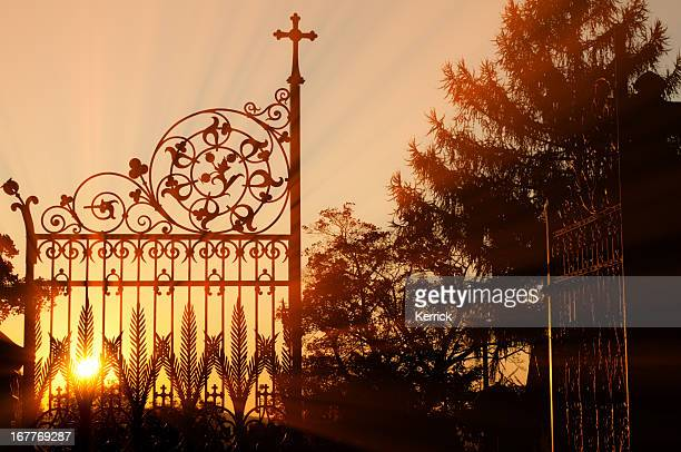 Wrought iron gate of a graveyard