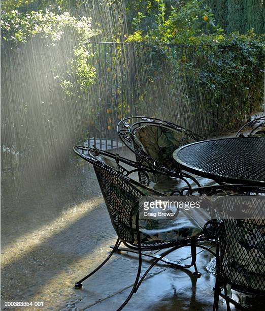 Wrought iron table and chairs on patio in rain
