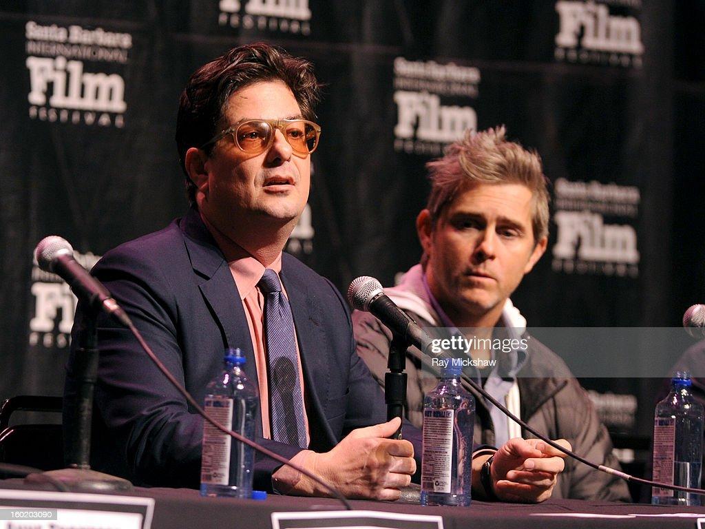 Wrter <a gi-track='captionPersonalityLinkClicked' href=/galleries/search?phrase=Roman+Coppola&family=editorial&specificpeople=615097 ng-click='$event.stopPropagation()'>Roman Coppola</a> and <a gi-track='captionPersonalityLinkClicked' href=/galleries/search?phrase=John+Gatins&family=editorial&specificpeople=2203490 ng-click='$event.stopPropagation()'>John Gatins</a> attend the 28th Santa Barbara International Film Festival Writers Panel at the Lobero theatre on January 26, 2013 in Santa Barbara, California.