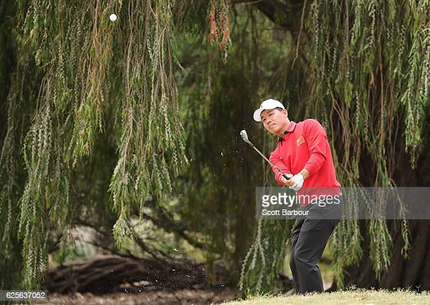 Wu Ashun of China plays a shot on the 4th hole during day two of the World Cup of Golf at Kingston Heath Golf Club on November 25 2016 in Melbourne...