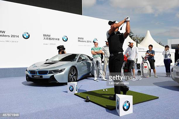 Wu Ashun of China takes part in the Nearest the Pin Challenge prior to the BMW Masters at Lake Malaren Golf Club on October 28 2014 in Shanghai China
