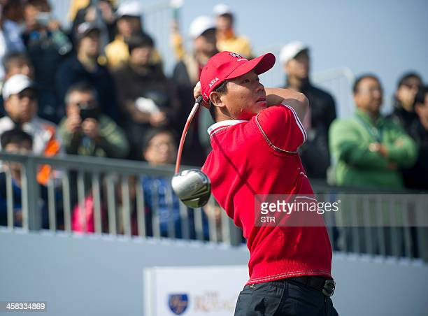 Wu Ashun of China tees off as he partners Liang Wenchong to half with the European team's David Howell and Marc Warren on the secondday of the...