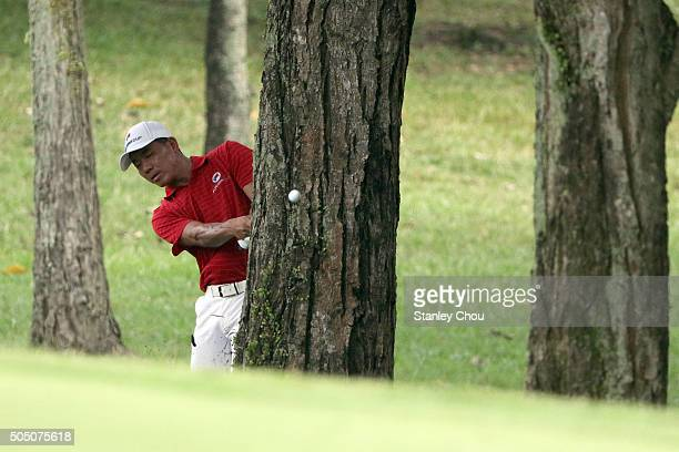 Wu Ashun of Team Asia plays out of the rough on the 7th hole during the fourball match play at Glenmarie GCC on January 15 2016 in Kuala Lumpur...