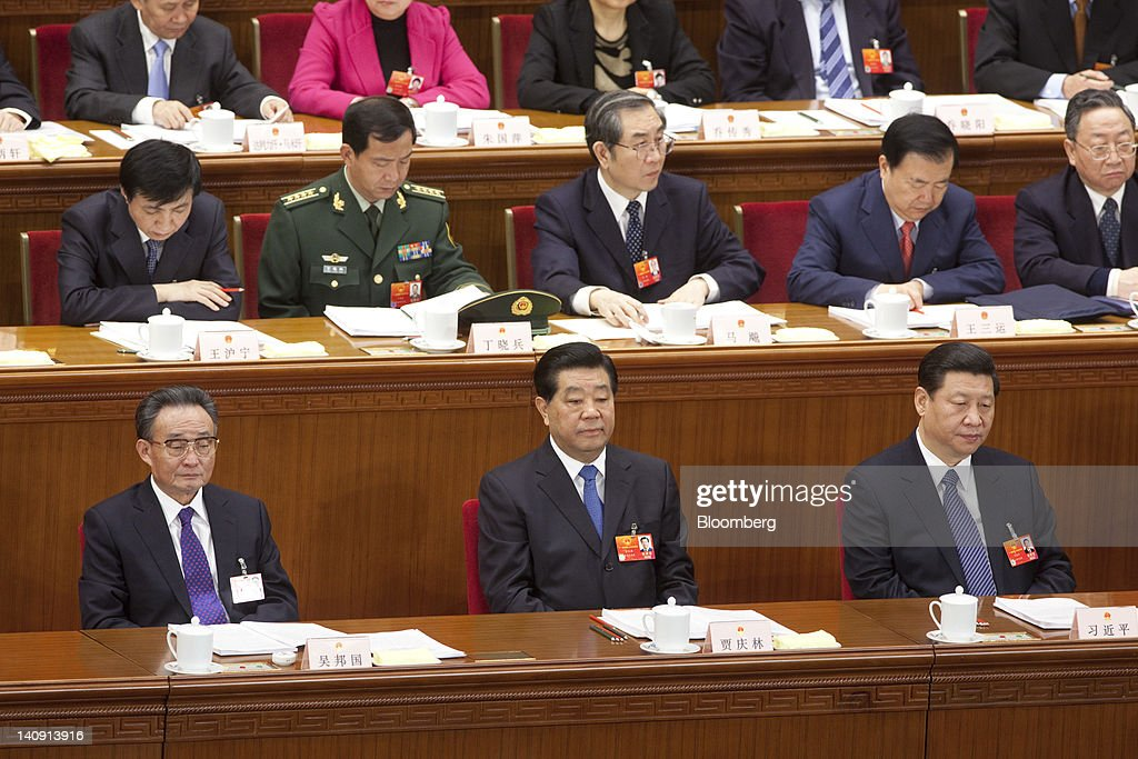 Wu Bangguo chairman of the Standing Committee of China's National People's Congress bottom row left Jia Qinglin chairman of China's People's...