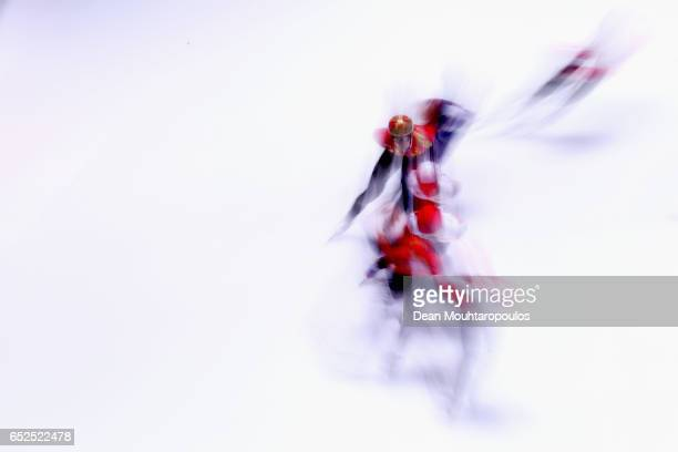 Wu Dajing of China competes on day two in the 3000m Mens Super Final at ISU World Short track Speed Skating Championships held at the Ahoy on March...