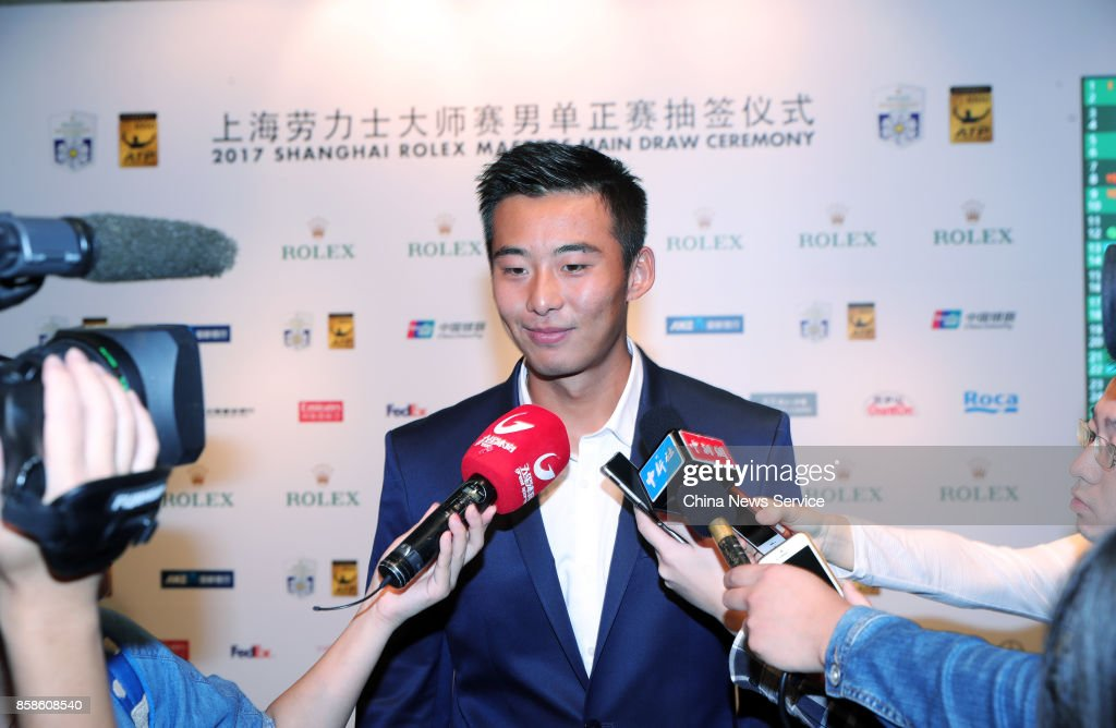 Wu Di of China receives interview at the 2017 Shanghai Rolex Masters Main Draw ceremony on October 7, 2017 in Shanghai, China.