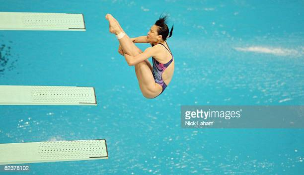 Wu Minxia of China competes in the Women's 3m springboard semifinal held at the National Aquatics Centre during Day 8 of the Beijing 2008 Olympic...
