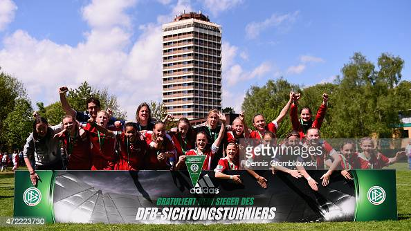 Wuerttemberg players celebrate after their victory in the Under 14 Girls Federal Cup at Sport School Wedau on May 5 2015 in Duisburg Germany