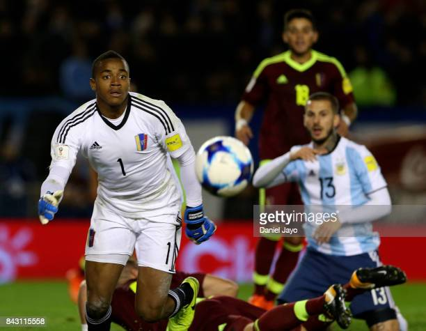 Wuilker Faríñez goalkeeper of Venezuela looks the ball during a match between Argentina and Venezuela as part of FIFA 2018 World Cup Qualifiers at...