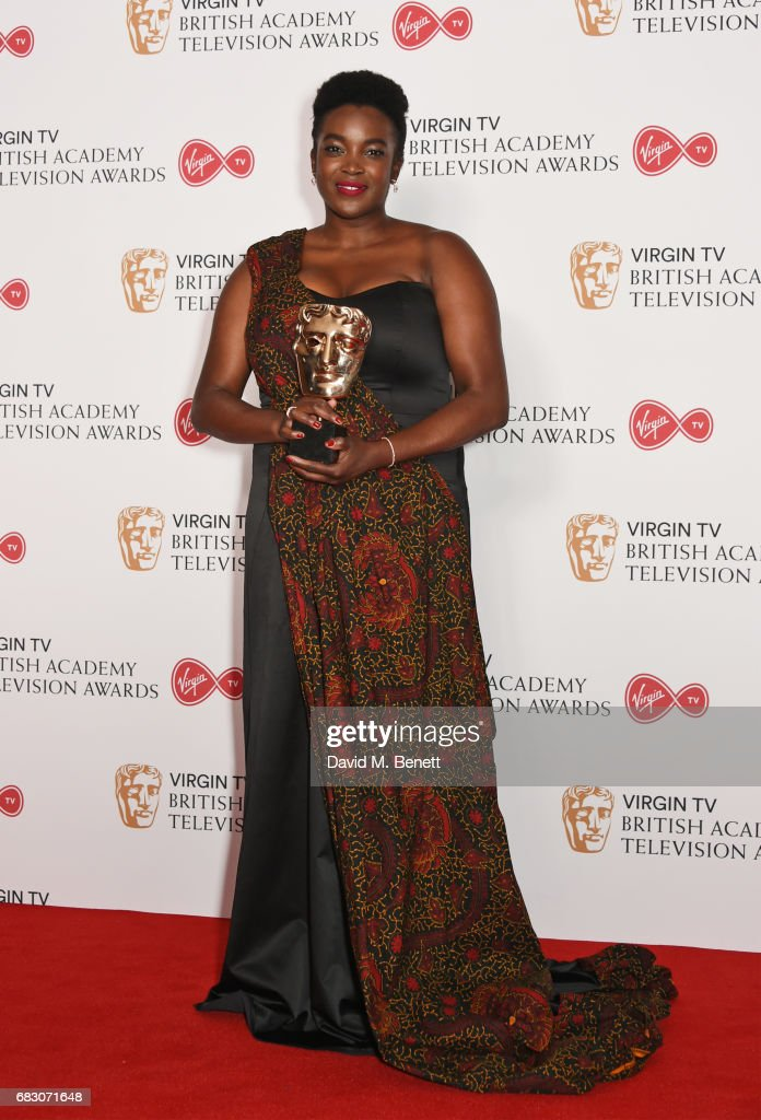 Wunmi Mosaku, winner of the Supporting Actress award for 'Damilola, Our Loved Boy', poses in the Winner's room at the Virgin TV BAFTA Television Awards at The Royal Festival Hall on May 14, 2017 in London, England.