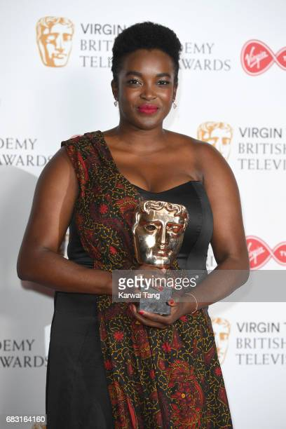 Wunmi Mosaku winner of the Supporting Actress award for 'Damilola Our Loved Boy' poses in the Winner's room at the Virgin TV BAFTA Television Awards...