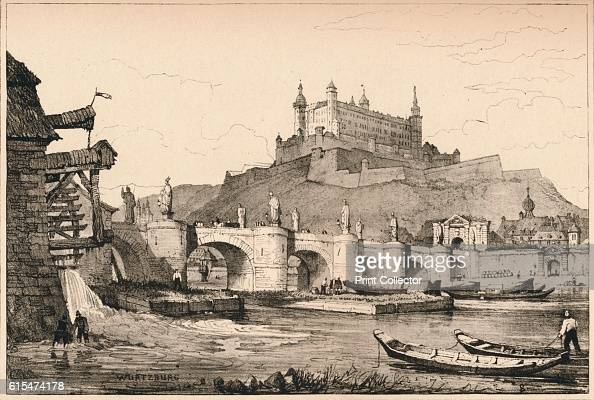 Wurzburg' c1820 Fortress Marienberg with Old Main Bridge located on a spur of the 266 metre high Marienberg which rises about 100 metres over the...
