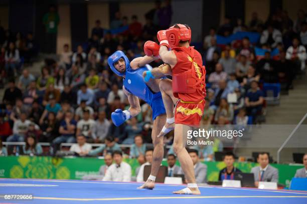 4th Islamic Solidarity Games Azerbaijan Ruslan Piraliyev in action vs Pakistan Abdullah Abdullah during Men's 60 kg Quarterfinals at Baku Sports Hall...