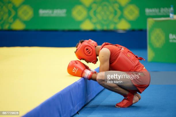 4th Islamic Solidarity Games Jordan Hamza Yahia in praying position outside mat vs Turkmenistan Annageldi Agamyradov during Men's 56 kg Quarterfinals...