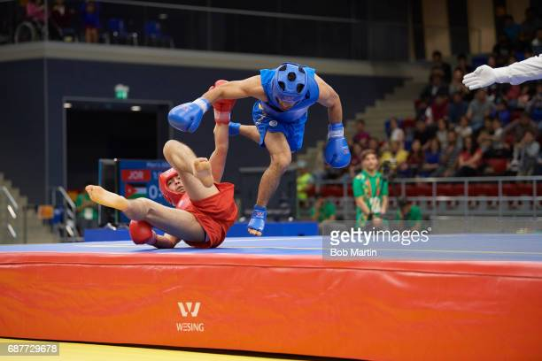 4th Islamic Solidarity Games Jordan Yazeed Hasanain in action vs Azerbaijan Bayram Shammadov during Men's 65 kg Quarterfinals at Baku Sports Hall...